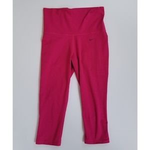 Nike dri fit cropped leggings pink stripe medium